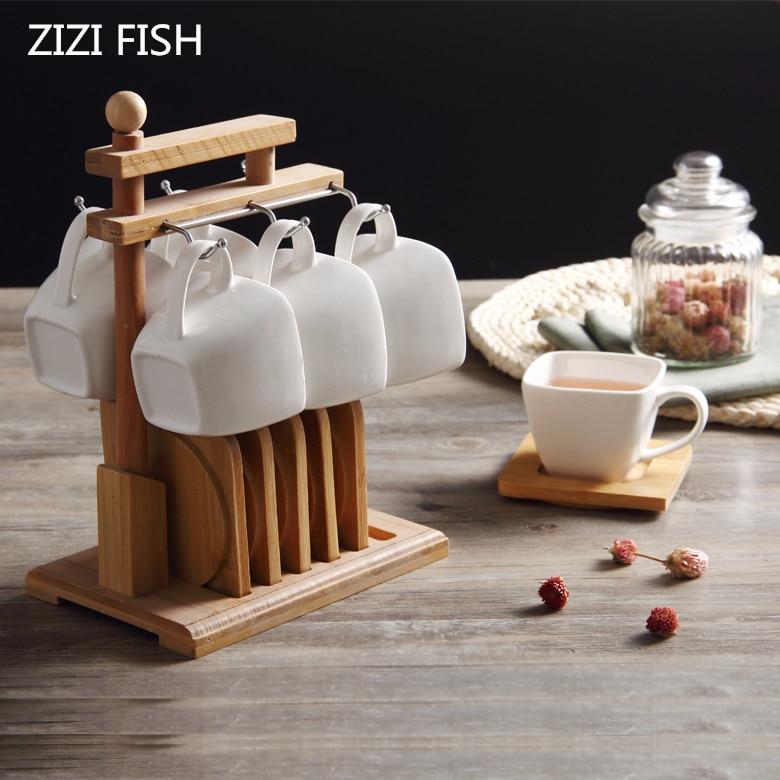 ถ้วยกาแฟและจานรองไม้สั้นสีขาวบ่ายชาถ้วยเซรามิคบ้านกาแฟและชา-ใน แก้ว จาก บ้านและสวน บน   1