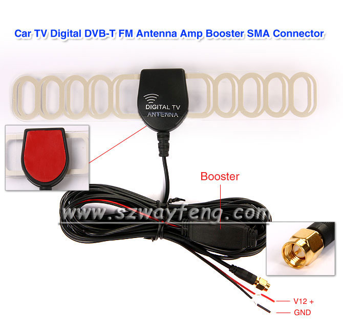Digital TV Active Antenna Mobile Car Digital DVB-T ISDB-T Aerial with a Amplifier Booster+Free shipping Factory selling