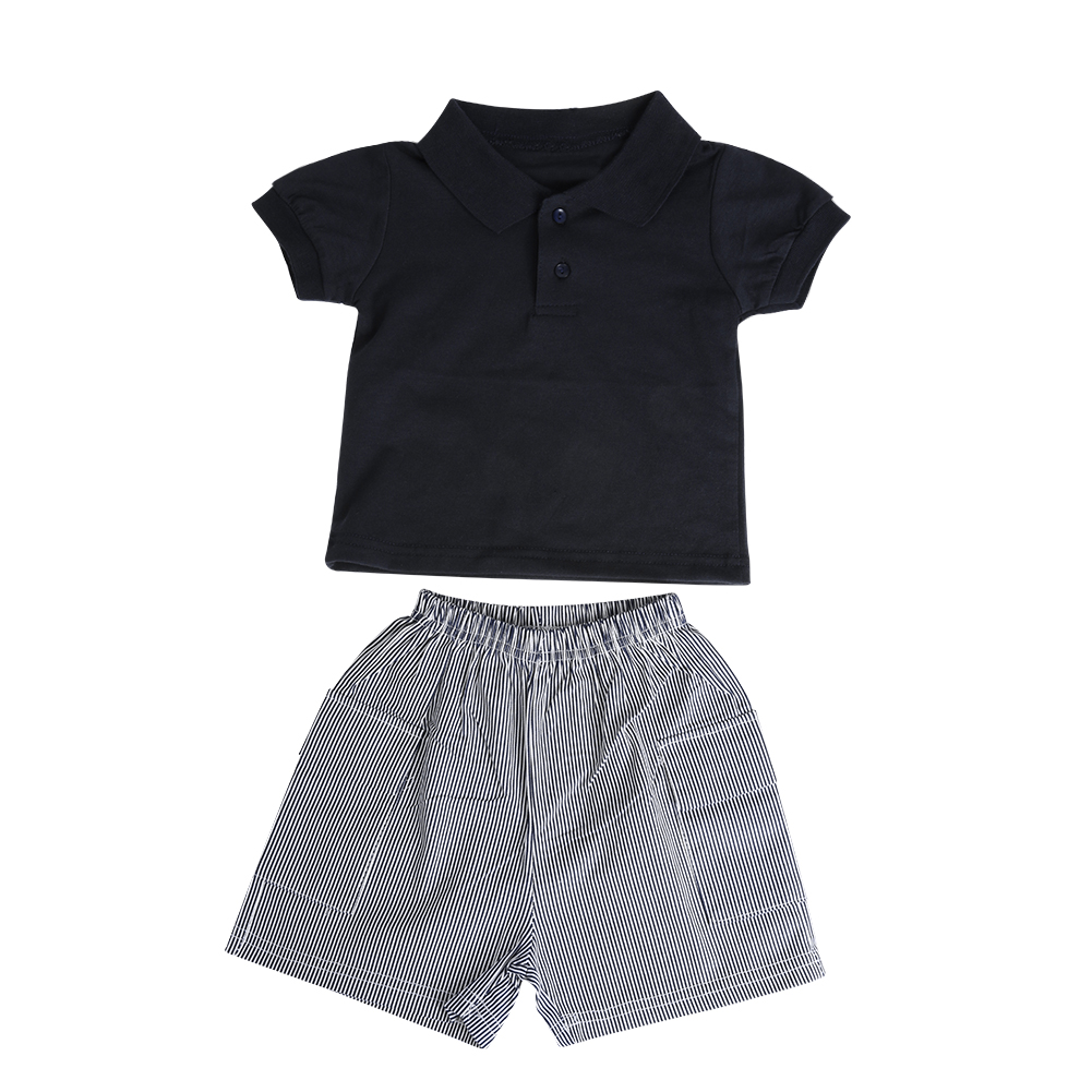 Summer Newborn Baby Boy Clothes Short Sleeve Cotton T-shirt Polo ShirtTops +Striped Pant 2PCS Outfit Toddler Kids Clothing Set 2pcs summer 2017 newborn baby boy clothes short sleeve cotton t shirt tops geometric pant outfit toddler kids clothing set 0 36m