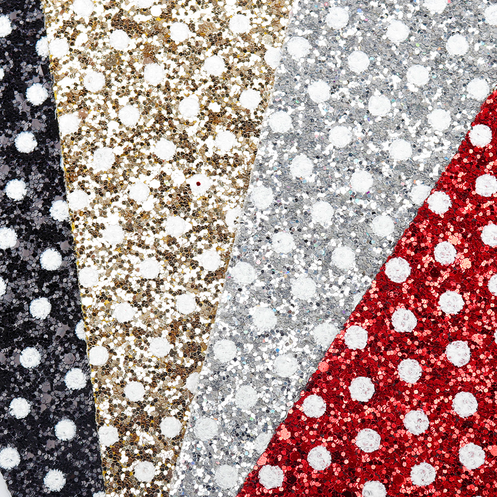 JOJO BOWS 22 30cm Chunky Glitter Fabric White Dots Shiny Solid Sheets For Home Textile Bed Sheets DIY Hairbows Materials Decor in Fabric from Home Garden