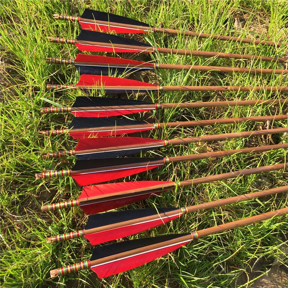 6/12/24PCS 32'' Handmade Bamboo Arrows For 20-60IBS Longbow Hunting Archery