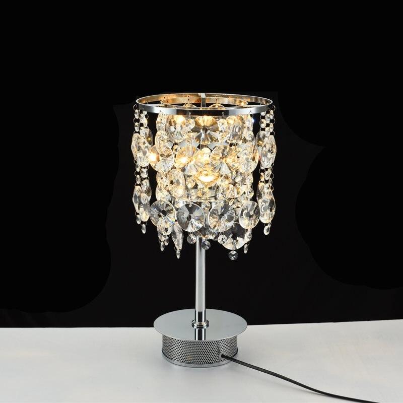 Lampe de bureau en cristal à Base de Chrome lampe de Table en cristal moderne de chambre à coucher lampe de Table créative LED avec ampoule E14