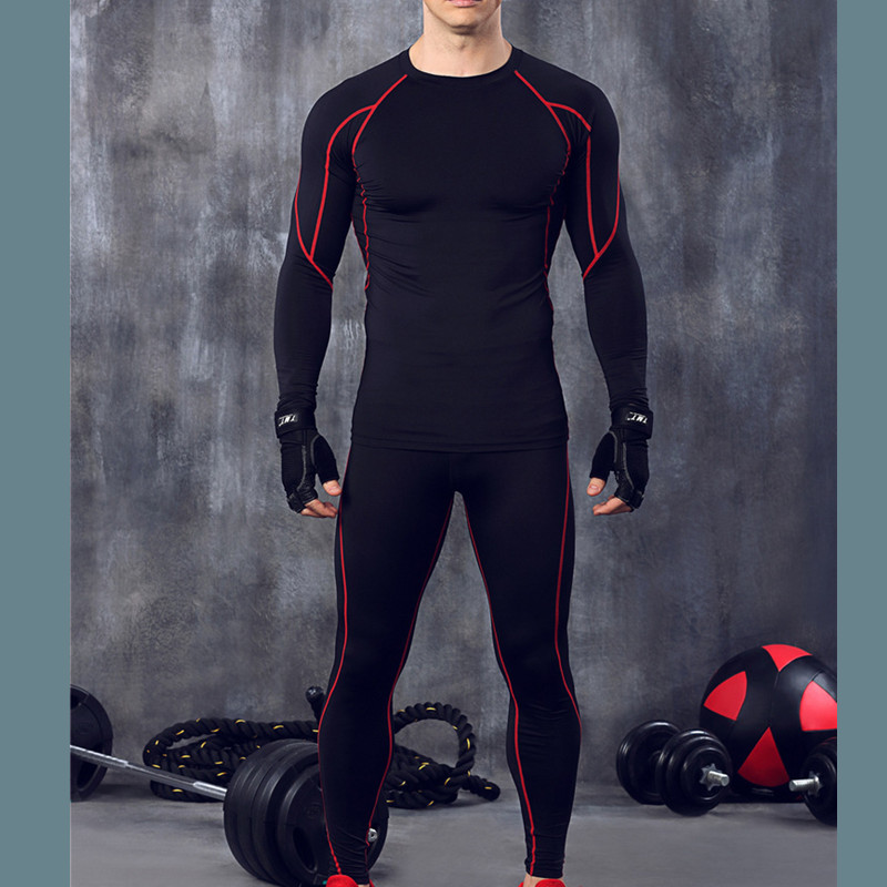 Winter men fitness stripe thermal underwear set Elastic compression long johns warm thermo underwear