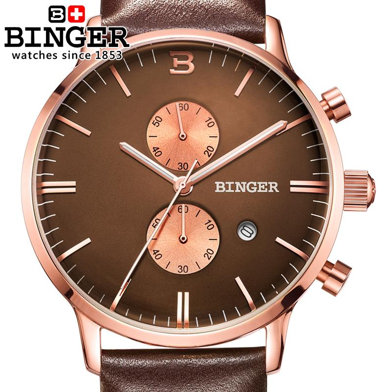 Switzerland watches men luxury brand Wristwatches BINGER Quartz watch glowwatch leather strap Chronograph Diver B1122-7 switzerland binger men s watches luxury brand quartz waterproof leather strap clock chronograph stop watch wristwatches b9202 8