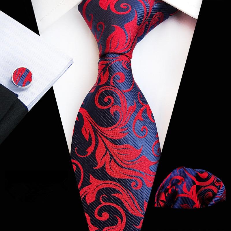 New Fashion Plain Floral Tie Men's 8cm Silk Necktie Set Blue Green Purple Yellow Gray Red Wedding Solid Tie Hanky Cufflinks Set