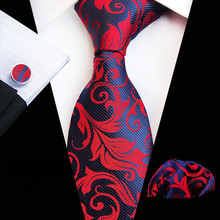 New Fashion Plain Floral Tie Men's 8cm Silk Necktie Set Blue Green Purple Yellow Gray Red Wedding Solid Tie Hanky Cufflinks Set