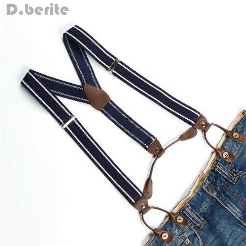 Men Stripes Braces Adjustable Suspender Leather Fitting Six Button Holes Navy White Red Striped Belts BD717