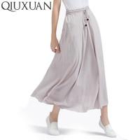 Best Price 2017 Spring Summer Bohemian Women Linen Cotton Long Skirt Ladies Elastic High Waist Maxi