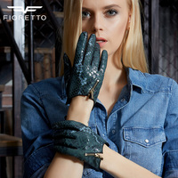 Fioretto Women Fashion Snake Genuine Leather Gloves Ladies Punk Driving Gloves With Metal Zipper Winter Warm Leather Gloves