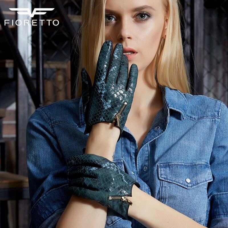 Fioretto femmes mode serpent gants en cuir véritable dames Punk gants de conduite avec fermeture à glissière en métal hiver gants en cuir chaud