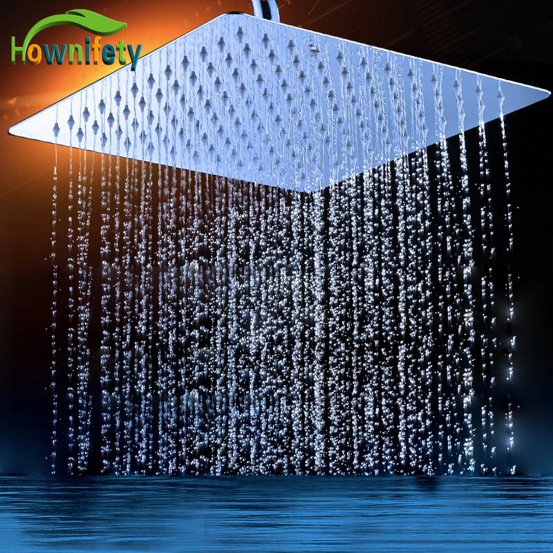 Chrome Polish Shower Heads 16 Inch Stainless Steel Rainfall Head Celiling Wall Mounted Bathroom Shower Accessory