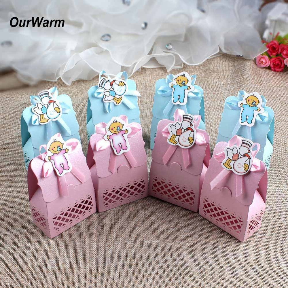 OurWarm 12Pcs Baby Shower Favor Box Cute Cartoon Christening Paper Candy Gift Box Souvenir Boy Girl Birthday Party Supplies
