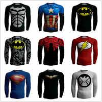 Spiderman Batman Fitness Kompression Shirt Männer Superman Captain America Bodybuilding Langarm 3D T Shirt T