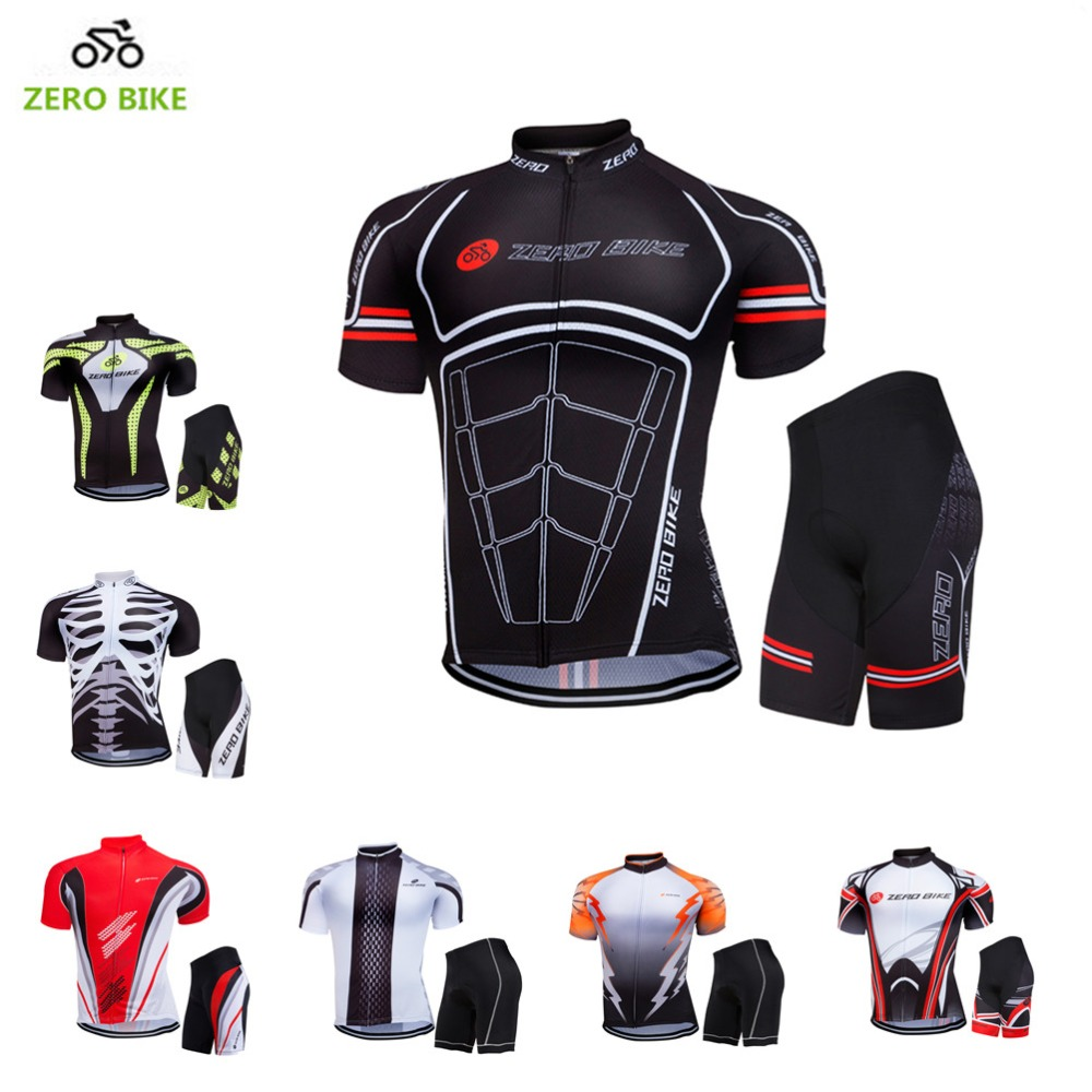 ZEROBIKE 2017 Summer Short Sleeve Cycling Jerseys Set 100% Polyester Cycling Clothing Gel 3D Padded Men's Bike Shorts M-XXL