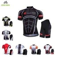 ZEROBIKE 2017 Summer Short Sleeve Cycling Jerseys Set 100% Polyester Cycling Clothing Gel 3D Padded Men's Bike Shorts M-XXL