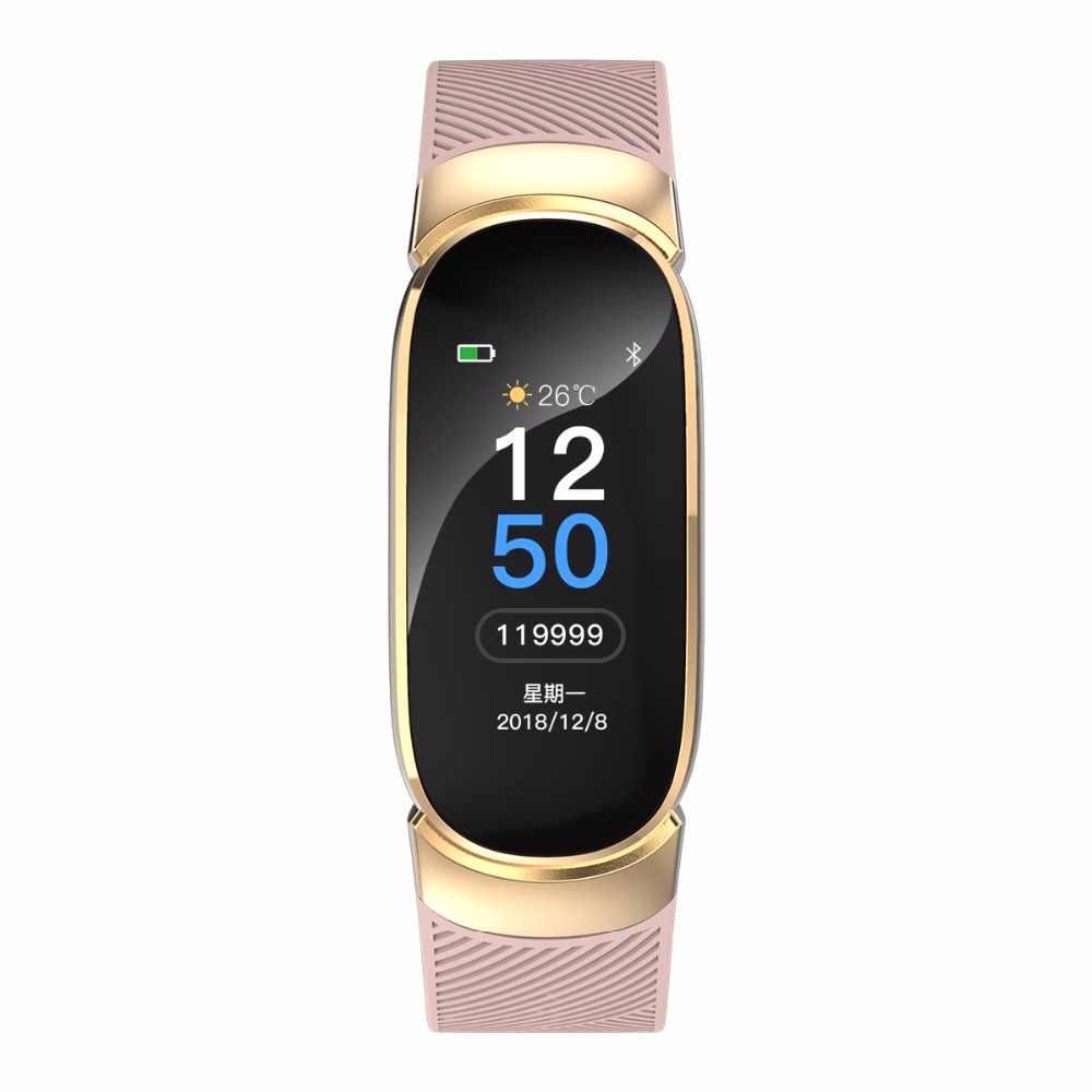 Neue Sport Wasserdichte Intelligente Uhr Frauen Smart Armband Band Bluetooth Heart Rate Monitor Fitness Tracker Smartwatch Metall Fall