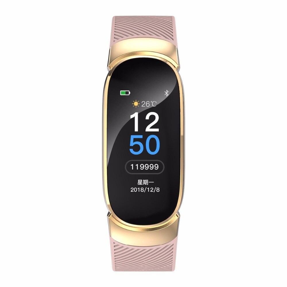 Nuevos deportes impermeable inteligente reloj pulsera inteligente banda Bluetooth Monitor de ritmo cardíaco rastreador de ejercicios inteligente caja de Metal