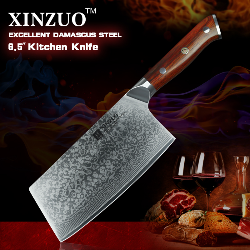 2017 XINZUO 6 5 inches slice knife Damascus steel kitchen knife fashion Chinese chef knife with