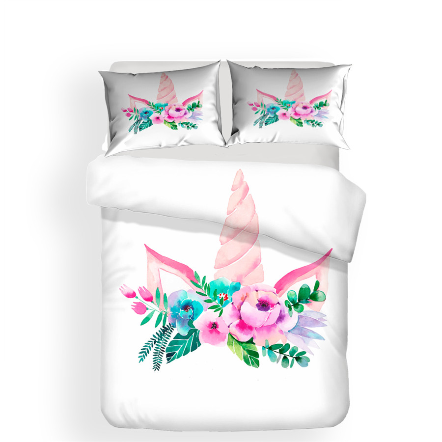 Image 2 - Bedding Set 3D Printed Duvet Cover Bed Set Unicorn Home Textiles for Adults Lifelike Bedclothes with Pillowcase #DJS03-in Bedding Sets from Home & Garden