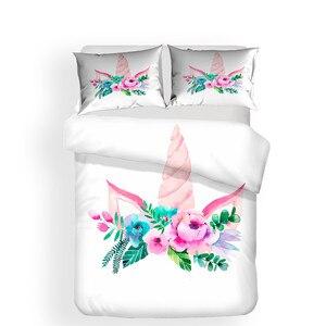 Image 2 - Set di biancheria da letto 3D Stampato Duvet Cover Bed Set Unicorn Tessuti per La Casa per Adulti Realistico Biancheria Da Letto con Federa # DJS03
