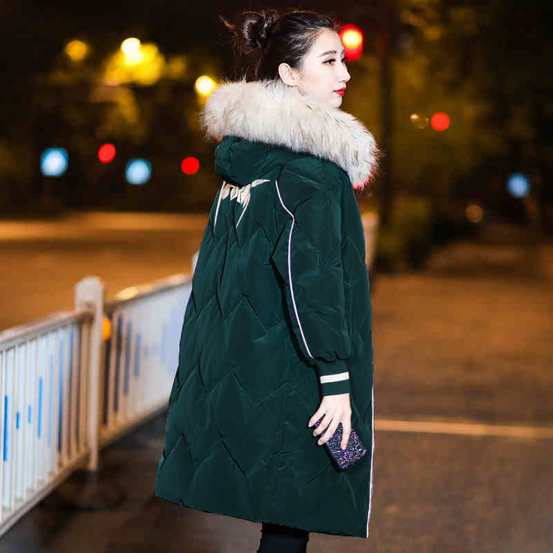 2019 Casual Long   Parkas   Down Cotton Jackets Winter Coat Women Large Fur Collar Hooded Warm Jacket Thicken Wadded Overcoat v834