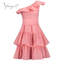 Young17 Elegant Dress Pink Backless Pullover Short Sleeve Pleated Beauty Elegant Female Party Dress Strapless Sexy