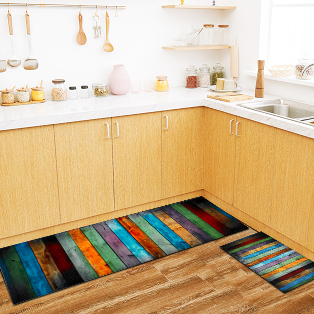 Wood Printed Carpets Mats Bedside Rugs Anti-slip Coffee Table Floor Mat For Bedroom Rug Kitchen Carpet image