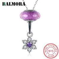 BALMORA 100% Real 925 Sterling Silver Jewelry Zircon Flower Fashion Pendant Necklaces for Women Lover Party Gift Bijoux SVM003