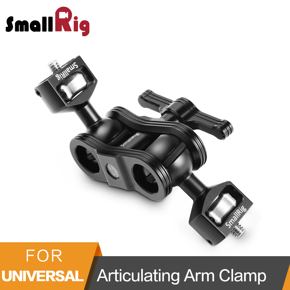 SmallRig Aluminum Alloy Quick Release Articulating Magic Arm with Double Ballheads + 1/4 Screws To Mount Monitors - 2070 smallrig dual aluminum camera articulating arm ballhead extension bar for magic arms 1 4 screws dslr monitor support 2109