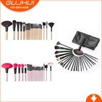 GUJHUI 24 Pcs Wood Color Black Makeup Brush Suit High Quality Soft Hair Professional Makeup Artist