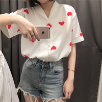 Women Blouse Summer Top 2018 Korean Harajuku Kawaii Red Heart Retro Pearl Button Shirt Wild Love