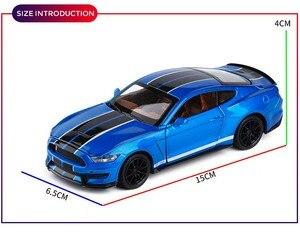 Image 5 - 1/32 Mustang Shelby GT350 Legierung Auto Spielzeug Modell EINE Modifizierte Auto Modell Pull Zurück Blinkende kinder Spielzeug Geschenk Freies verschiffen