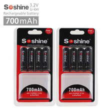 ФОТО 4pcs soshine 3.2v lifepo4 battery aa 14500 battery pilas recargables protected with battery case and connectors