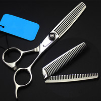 Upscale Professional japan 440c 6 '' Double sided teeth hair scissors Curved salon barber thinning shears hairdressing scissors