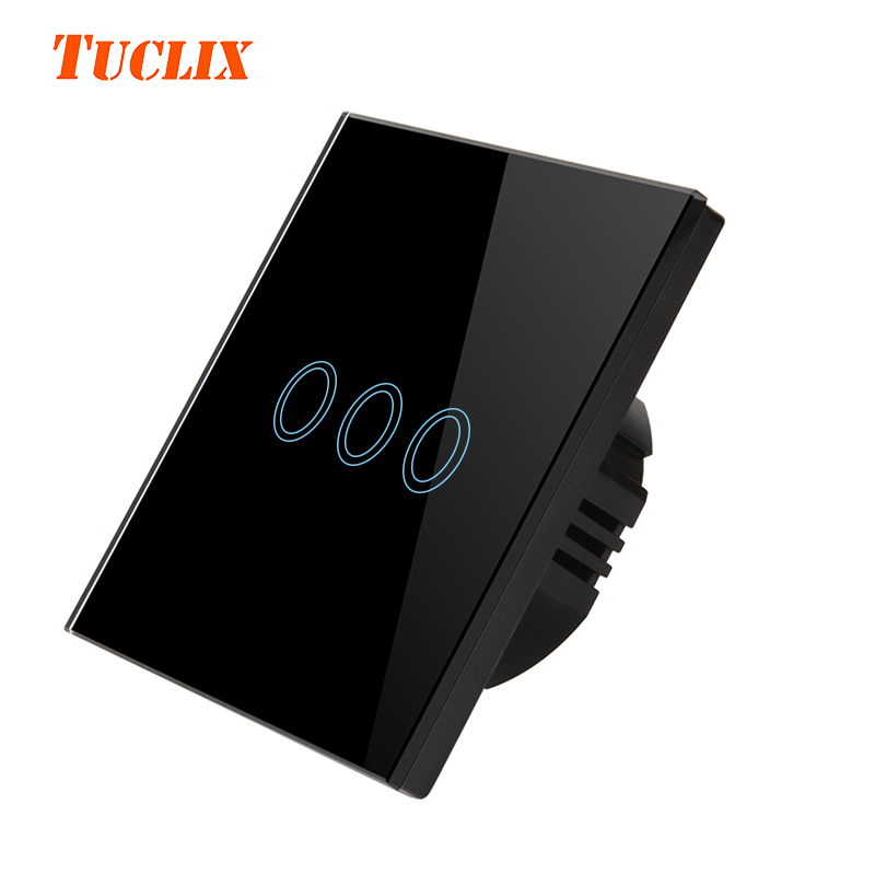 TUCLIX EU/UK Standard Touch Switch 3 Gang 1 Way Wall Light Touch Switch-Crystal Glass Switch Panel black eu uk standard touch switch 3 gang 1 way wall light touch screen switch crystal glass switch panel popular