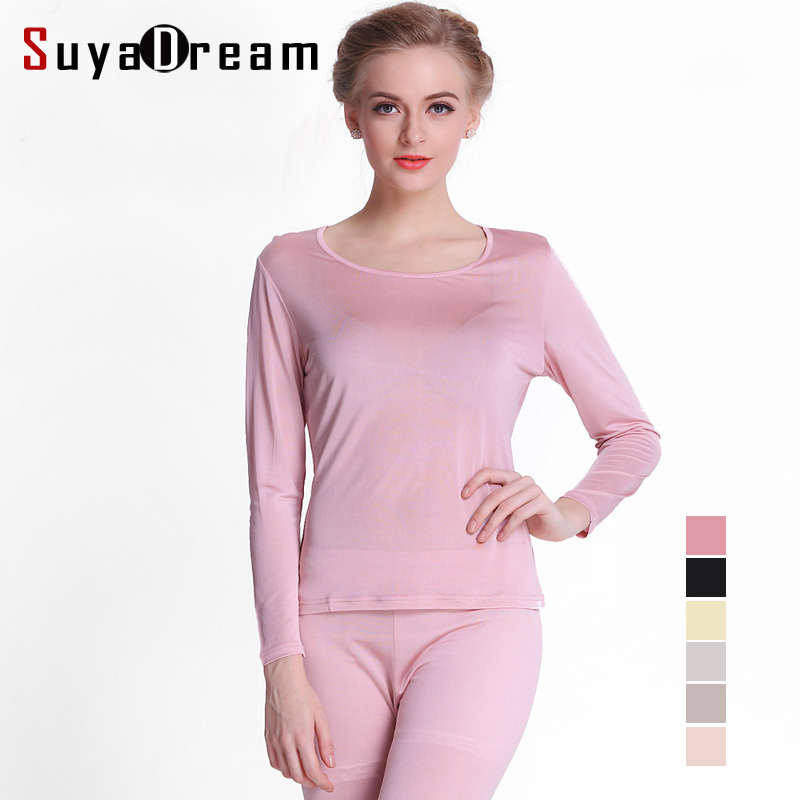 100%Natural SILK Women Long Johns Health Silk Intimates Suit Long Sleeve Round Collar Underwear Healthy Sleep Wear 2016 New