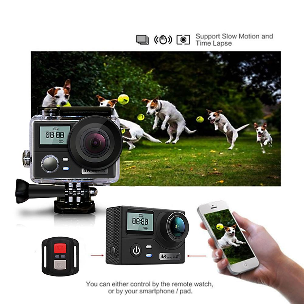 Double écran Ultra HD 4 K Action caméra 16MP 1080 P Sport caméra Wifi télécommande aller plongée Pro étanche Sport DV DVR caméra - 2