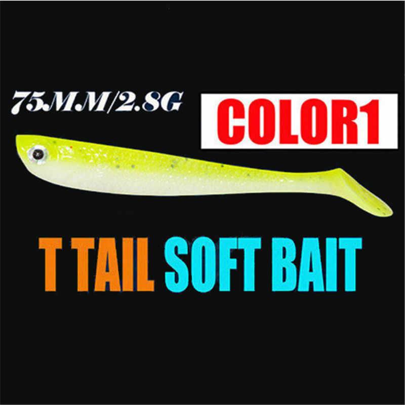 1 pièces 10 couleurs appâts en caoutchouc souple leurres de pêche 75mm 2.8g qualité professionnelle appâts artificiels leurres de basse carpe Wobblers leurre souple