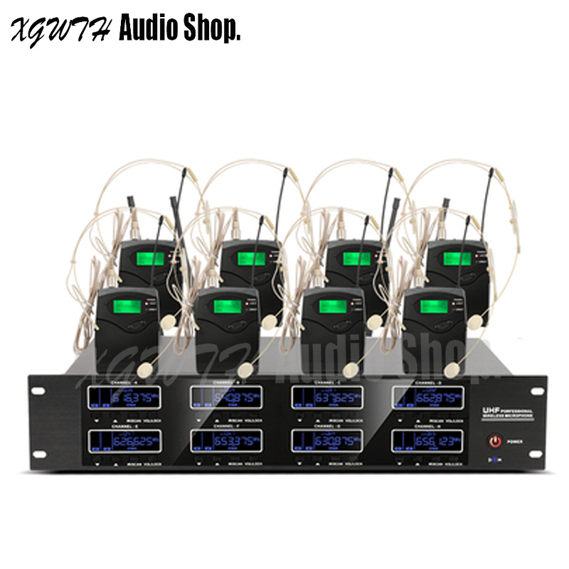 800 Channels Digital UHF Wireless Microphone System 8 Headset Lavalier Stage Performance Vocal Karaoke Wireless Microphone