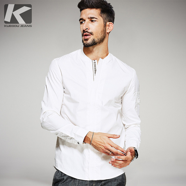 Big Sale Autumn Mens Shirts 100% Cotton Letter Zipper White Color Brand Clothing Man's Long Sleeve Slim Male Wear Tops 0390