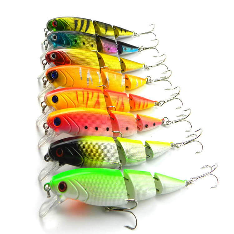 8pcs 14g/10cm Bionic Fishing Lures Bass Baits Lifelike 3 Jointed Minnow Crankbaits 6# Treble Hook Floating Tackle Sea Ice Raft