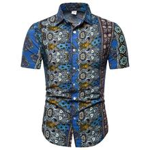 Hawaiian style Shirt for Men Beach leisure Linen Shirts Clothes Casual Short sleeve Blouse Plus size 4XL 5XL