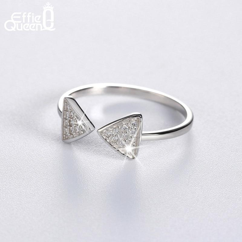 079d0cc26f22 Effie Queen nuevo llegado genuino plata 925 Anillos CZ pavimentado arco  abierto dedo ajustable Anillos para las mujeres br01