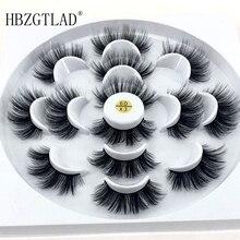 HBZGTLAD חדש 7 זוגות טבעי ריסים מלאכותיים מזויפים ארוך איפור 3d מינק ריסים ריס הארכת מינק ריסים עבור יופי