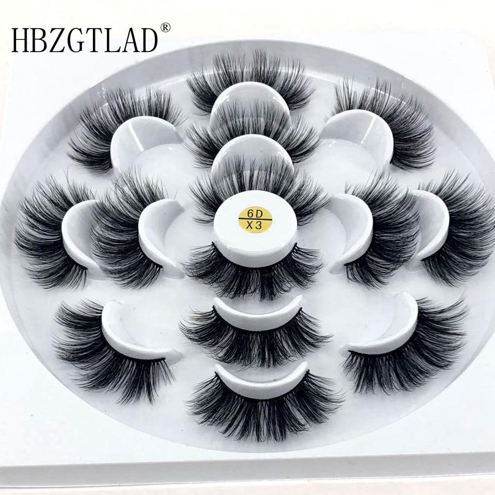 HBZGTLAD New 7 pairs natural false eyelashes fake lashes long makeup 3d mink lashes eyelash extension mink eyelashes for beauty(China)