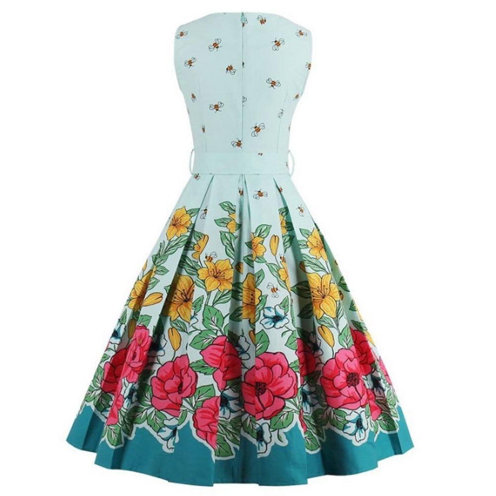 9b2eab3d1702d Plus Size Dress 4XL Women Floral Print Robe Pinup Ball Gown Sleeveless  Summer Tunic Swing Party Midi Vintage Rockabilly Dresses