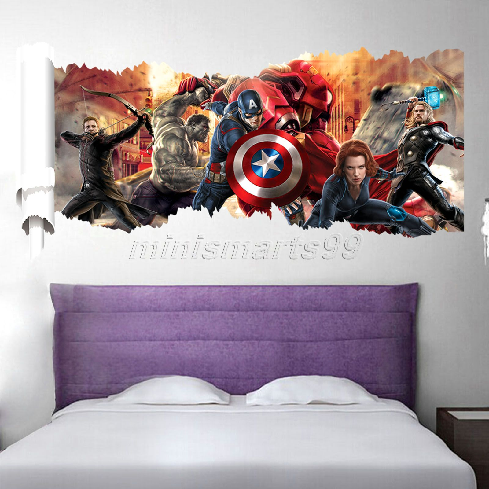 marvel's the avengers wall sticker decals for kids room home decor