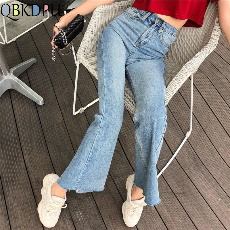 High Waist Vintage Flare Pants Women Slim Wide Leg Ladies Bell Bottom Jeans Female Autumn Femme Boyfriend Loose Denim Trouser