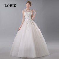 LORIE Wedding Dress Online Shop China Appliques Customized Free Shipping Beaded Lace Up Ball Gown Backless