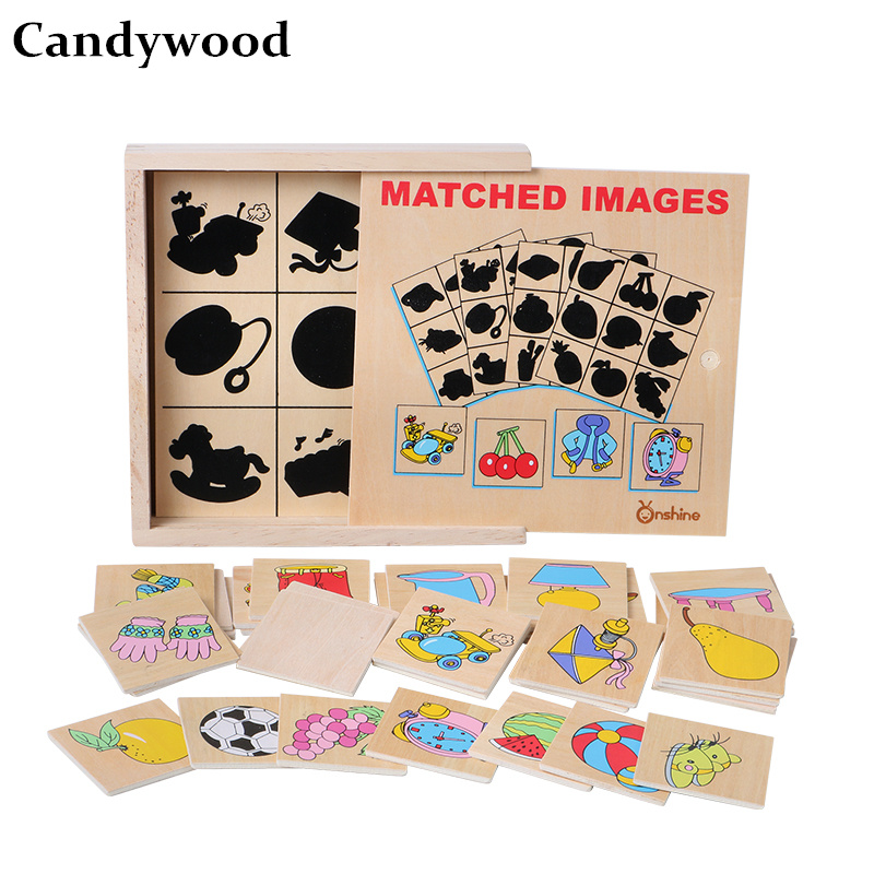Candywood Matched images Shadow Games toys Children Early Education Imagination wooden puzzle Baby Develop Intelligence toys montessori education wood blowers traditional blowing games interactive games children early education puzzle toys